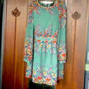 Moon Collection Green Floral Dress Sz 6
